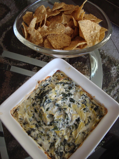 Spinach Artichoke Dip with Chips - Rotated